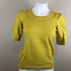 Anthro Moth yellow knit braid detail top, medium